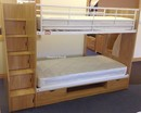 Wooden Bunk Beds With Stairs In Oak - Bunk With Cupboards And Drawers