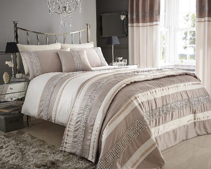 Double Size Steffan Linen Beige Embellished Duvet Set