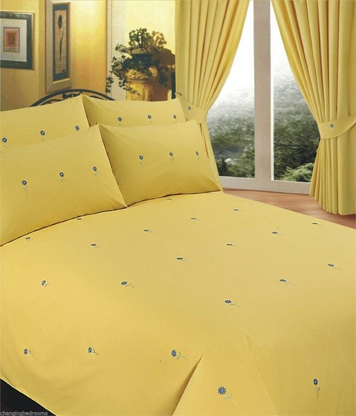 Changingbedrooms Com King Size Yellow Embroidered Floral