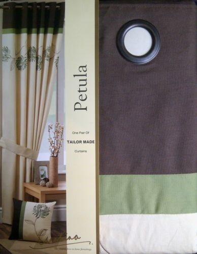 Green Curtains brown cream and green curtains : Changingbedrooms.com Luxury Eyelet Top Petula Embroidered Cream ...