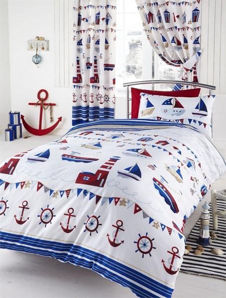 Marine Boats Lighthouse Kids Childrens Boys S Single Double Duvet Setatching Curtains
