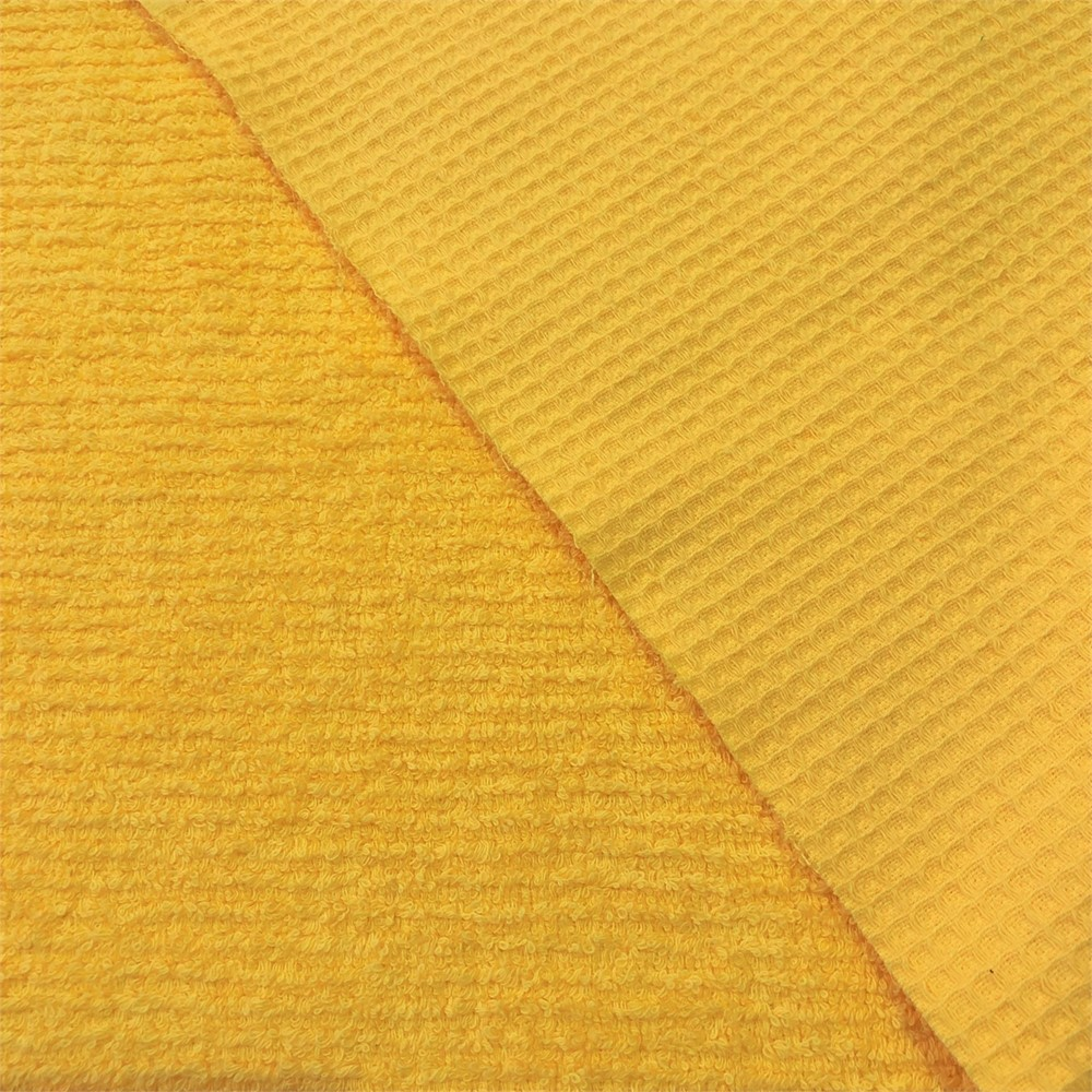 CANARY YELLOW Luxury Cotton Terry Toweling Waffle Pique Fabric Material