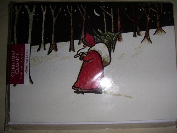 10 Christmas  Cards - 1 classic design - Santa with tree