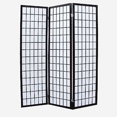 3 Panel Screen - Shoji Black