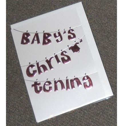 Baby's Christening Card - Pink
