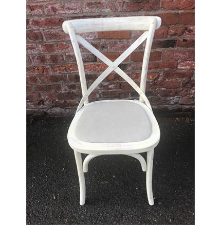 Cafe Chair cross back bentwood Dining Chair with upholstered seat - distressed Ivory finish