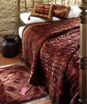 Double sided printed velvet patchwork quilted bed cover