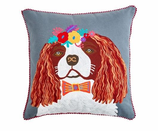 Floral King Charles Spaniel Cushion