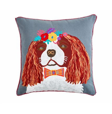 Floral King Charles Spaniel Cushion