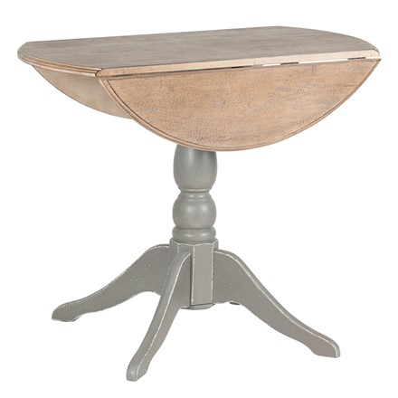 French Grey Rubber Wood Drop Leaf Round Table K/D