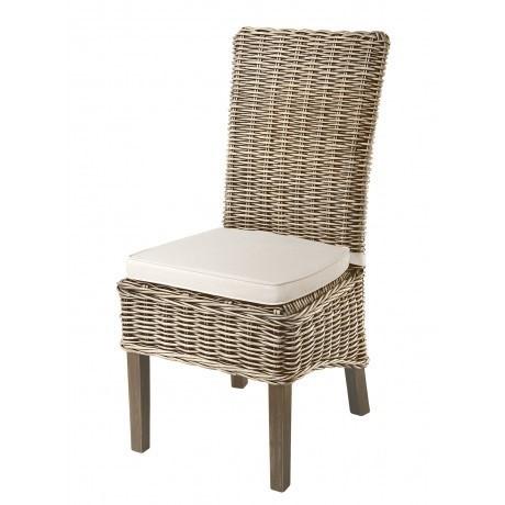Grey Kubu Rattan Seat Dining Chair With Seat Pad