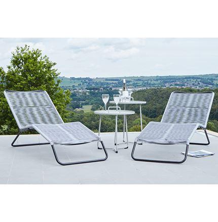 Grey PU Rio Set of 2 Sun Loungers - Outdoor Rattan Furniture