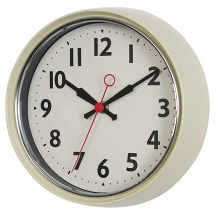 IVORY FIFTIES STYLE METAL WALL CLOCK