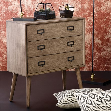 Klimt - Desert Brown Pine Wood 3 Drawer Unit - side board