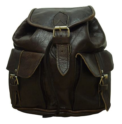 Leather Bag - Small Leather Rucksack Dark Brown