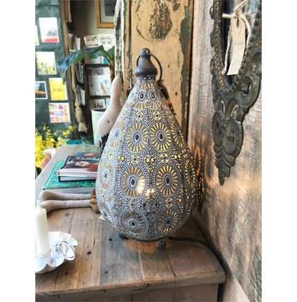 Moroccan Style Metal Table Lamp - White