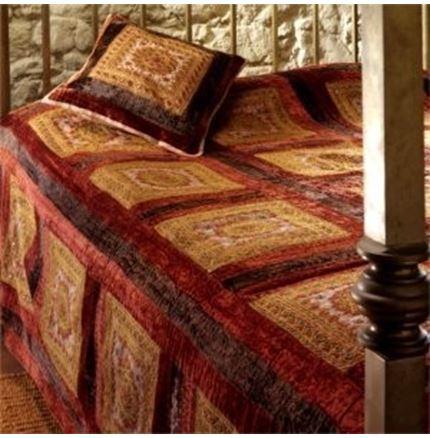 Moti velvet patchwork embroidered mirror bedcover