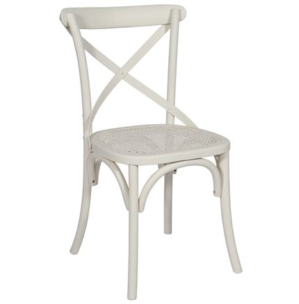 NOW SOLD - SPECIAL OFFER  - SET OF 4 Brittany Cross Back / bent wood Dining Chairs - White Wash finish