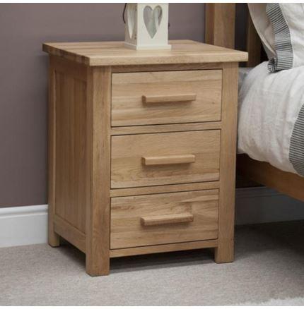 Opus Oak 3 Drawer Bedside Cabinet.