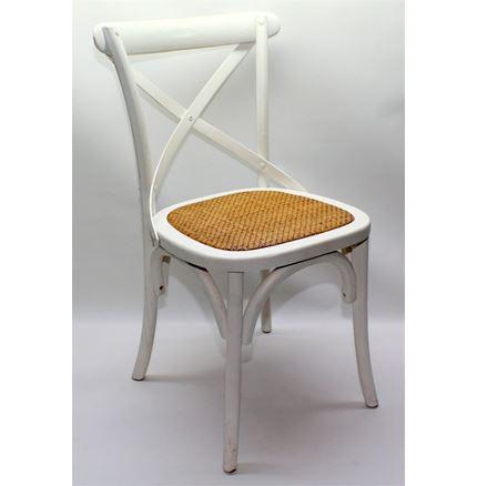 Rhone Cross Back / bent wood Dining Chair - White