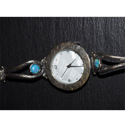 Silver watch - Round Face - Blue opals
