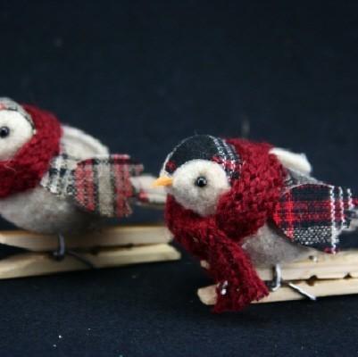 Tartan Fabric Bird on Peg - 2 assorted christmas decoartions