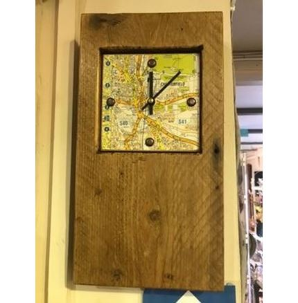 Wooden Clock with Chesterfield map