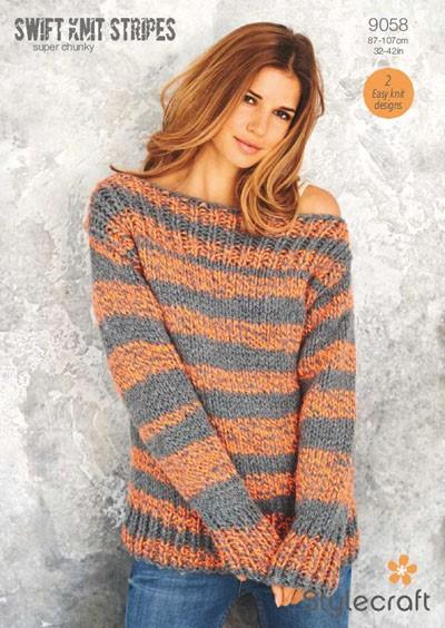 Stylecraft Swift Knit Stripes Super Chunky Pattern 9058