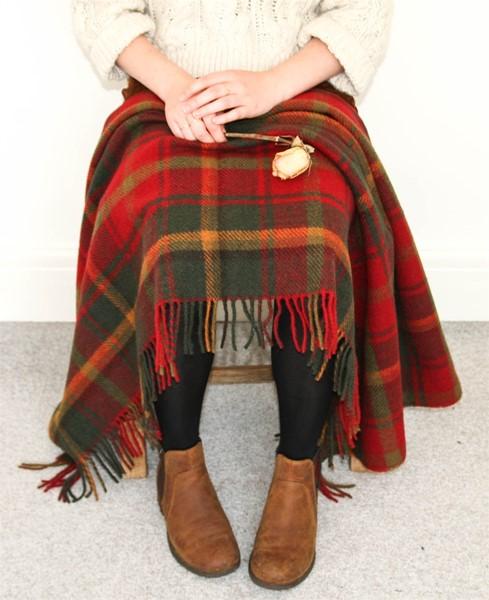 Wool Blanket Online. British Made Gifts. Dark Maple Tartan