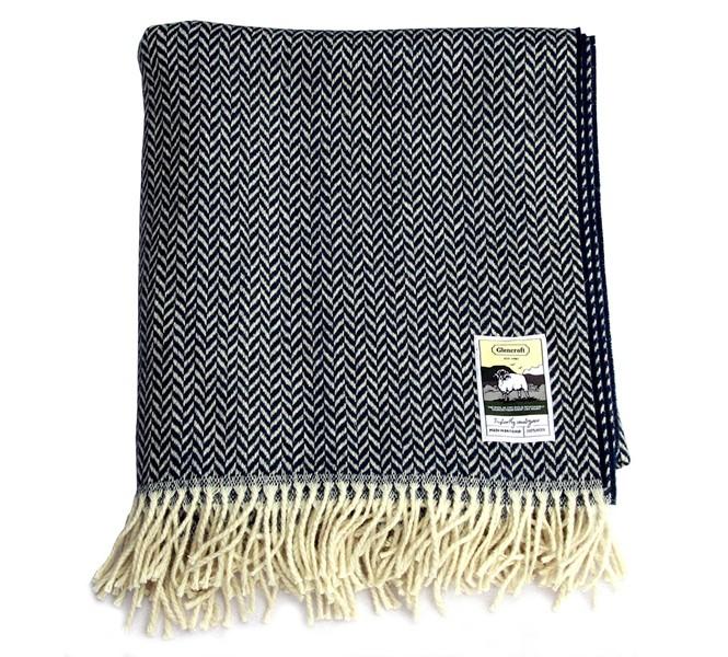 Glencroft 100 Wool Blanket Navy Herringbone