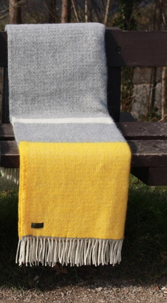 Illusion Panel Wool Throw Grey Yellow Thumbnail