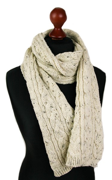 454261bc29269 Wool Blanket Online. British made gifts. Knitted Aran Wool Scarf - British  Made with British Wool - Cream