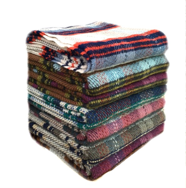 Recycled Wool Checked Picnic Rug Large